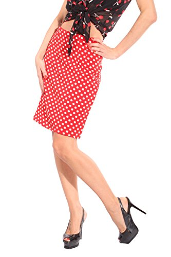 Pin Up Polka Dot rockabilly High Waist Punkte Pencil Rock Bleistiftrock