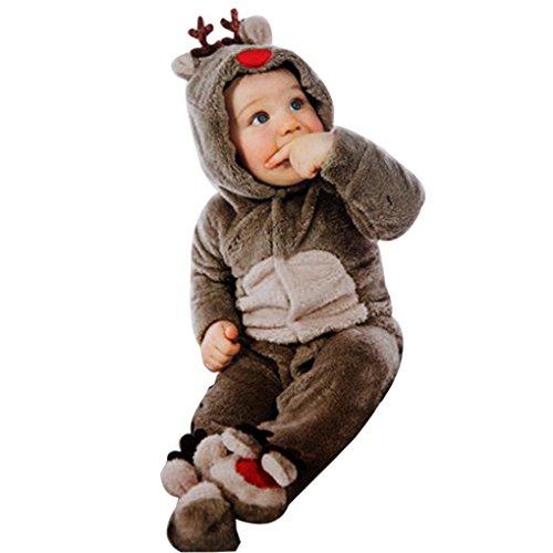 Für 0-18 Monate Baby,Amlaiworld Neugeborenes Baby Kleidung Hirsch Romper Winter warme Oberbekleidung Outfits (M, Kaffee)