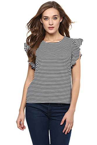 Miss Chase Womens Black And White Ruffle Striped Top