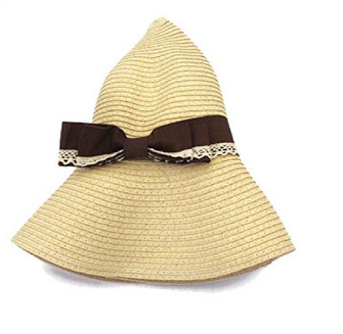 Chapeau Mme Un Grand Chapeau De Soleil à Larges Bords Chapeau D'été Voyage De Chapeau De Plage Arc Décoratif Beige