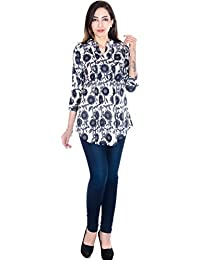 TEEJ New Round Collar Neck Blue Printed Cotton Short Top Kurti