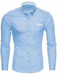 MERISH Slim Fit Hommes Chemise à manches longue avec Poche poitrine Chemise Business adapté pour toutes les occasions, Modell 208