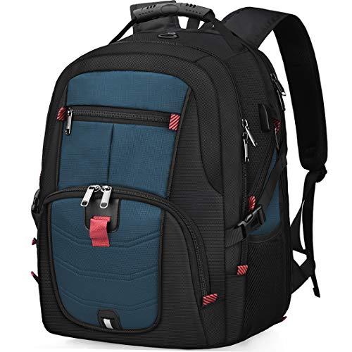 Laptop Notebook Rucksack Herren 17 Zoll Schulrucksack mit USB Ladeanschluss Grosser Wasserdicht Arbeit Rucksack Taschen 17,3 Zoll Business Backpack Daypack für Männer Schüler Jungen Teenager Blau