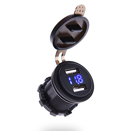 Price comparison product image MICTUNING 4.2A Dual Port USB Charger with Voltmeter 12-24V BLUE LED Digital Display Universal for Car Boat Motorcycle