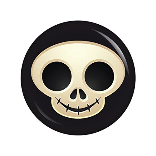 Kiwikatze® Fest - Fratze Totenkopf 37mm Button Ansteckbutton für Fasching Karneval Halloween Party und ()