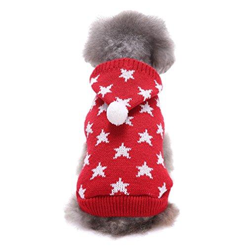 LvRao Welpe Hund Katze Strickpullover Sweater Niedlich Jumper Haustier Weihnachten Kostüm Mantel (Schwarz Stern, (Sterne Weihnachts Kostüm)