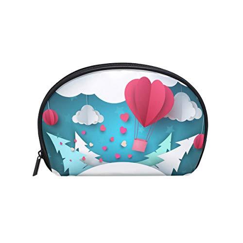 Twill Make-up Bag Small Shell Form Kulturbeutel Reisespeicher für Frauen Origami Aerostat Spruce Clouds -