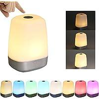 Wake Up Light, Tomshine Despertador de Luz, Control Táctil Sensible, 3 Niveles Brillo Dimmable y Color que Cambia, USB Recargable Luz de Noche (5 Sonidos Naturales)
