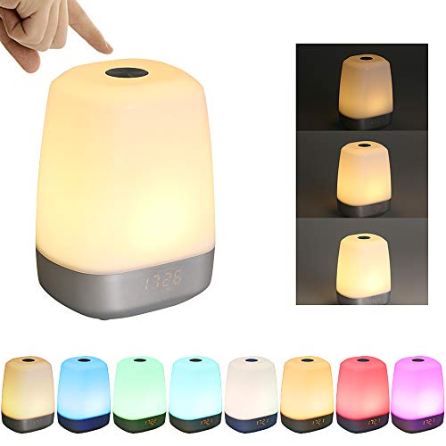 Wake Up Light, Tomshine Despertador de Luz, Control Táctil Sensible, 3 Niveles Brillo Dimmable y Color que Cambia, USB Recargable Luz de Noche (5 Sonidos Naturales)