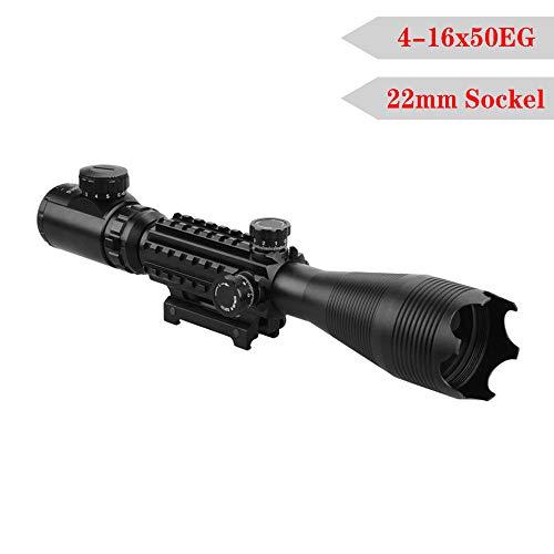 LARS360 Zielfernrohr Gewehrzielfernrohre Rot Und Grün Taktische Luftgewehr Armbrust Rifle Scope Luftscharfschützen Airsoft Mit 22mm Montagen für Jagd und Sport (4-16x50EG, 22mm)