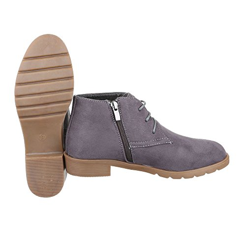 Schnürboots Damen Schuhe Combat Boots Blockabsatz Leicht Gefütterte Reißverschluss Ital-Design Stiefeletten Grau