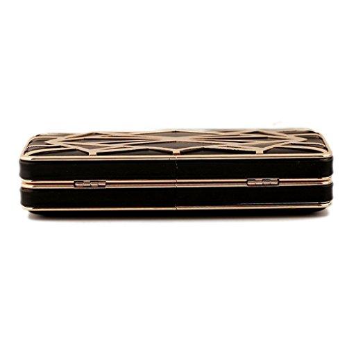 Abatract WILLTOP telaio In metallo, con chiusura magnetica, a forma di goccia, catena Evening Clutch, nero (Nero) - UK-B25614-BLACK nero