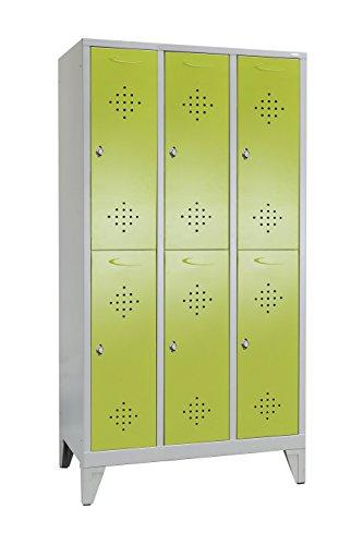 Garderobenschrank unterteilt mit 3 Abteilen Grüne Linie von Spindmax