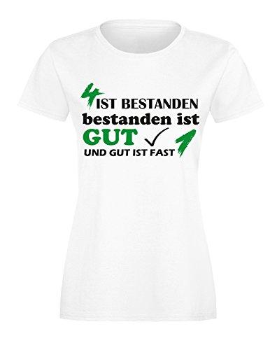 4 ist Bestanden - Bestanden ist Gut und Gut ist fast 1 - Damen Rundhals T-Shirt Weiss/Schwarz-gruen
