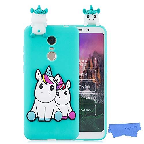 HopMore Funda para Xiaomi Redmi 5 Silicona Dibujo 3D Divertidas Panda Animal Carcasa TPU Gel Ultrafina Slim Case Antigolpes Caso Protección Flexible Cover Design Gracioso - Unicornio Verde
