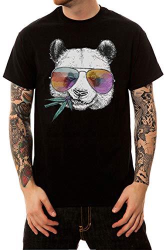 Ocean Plus Herren Digitaldruck Schwarz Weiß T-Shirt aus Baumwolle Streetwear Tee Einfarbig Shirts Rundhalsausschnitt (XL/180-185cm, Sonnenbrille Panda schwarz)