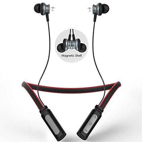 Langsdom L9 Auriculares Inalámbricos Bluetooth 4.1 In-Ear Deportivo con Banda para el Cuello Compatibles con Apple, Samsung, etc (Rojo)