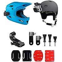 micros2u 9piezas casco frontal + lateral Kit de montaje, incluye J-Hook hebilla, Clip de liberación rápida, 3m adhesivo Pads para GoPro Hero, cámara de acción, deportes, cámara, cámara de casco