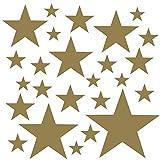 PREMYO Set de 25 Stickers Muraux Enfants Étoiles - Autocollants Décoration Murale Chambre Bébé - Facile à Poser Or