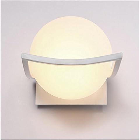 Vetro semplice bianco rotondo parete lampada da