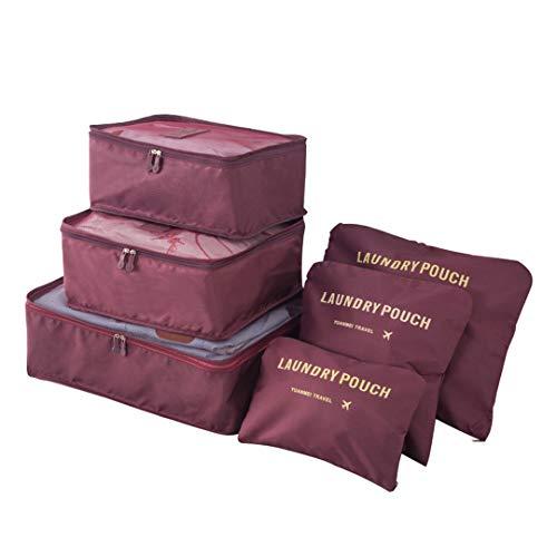 Kono Reisetasche Set 6 Teilig Koffer Organizer Taschen Kleidung Speicherbeutel für Schuhe Unterwäsche Kosmetik (Wein)