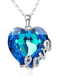 """Angelady """"Blaue Liebe"""" """"Herz Anhänger Halskette, Made mit Swarovski Kristall , Geburtstagsgeschenke für sie"""
