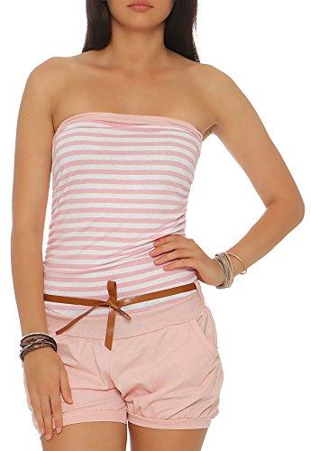 Baumwolle Gestreiften Overalls (Malito Damen Einteiler gestreift | kurzer Overall mit Gürtel | Jumpsuit im Marine Look - Playsuit - Romper 9630 (rosa))