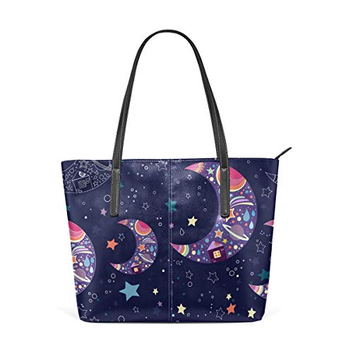 Boho Mond Sterne Muster Fashion Leder Tote Schultertasche Handtasche für Frauen Mädchen (Oma Tote Halloween)