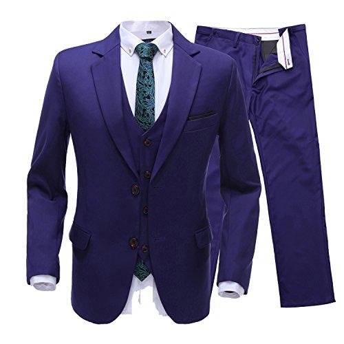 Neue 2-knopf Herren Anzug (Lilis® Männer Slim Fit 3 Stück Anzug Zwei Knopf Blau Blazer Tux Weste & Hose)