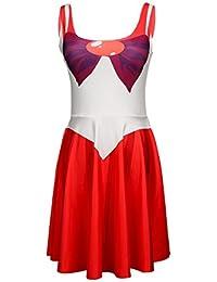 JNTworld Sailor Moon Kleid Cosplay Gedruckte Mehrfarbenärmellose Kleider