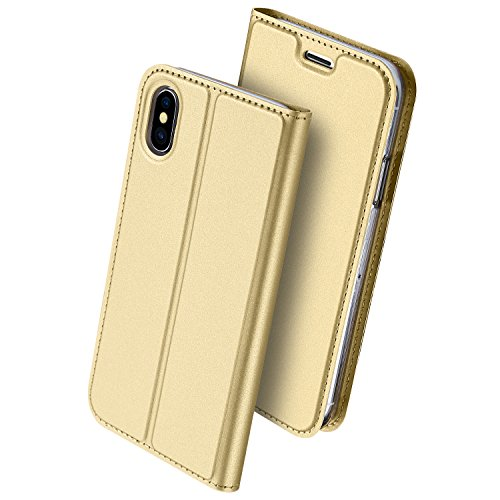 """iPhone X Wallet Case, VMAE Magnetic Folio Stand Ultra Slim Cover, PU Leather Card Slot Full Body Flip Skin Pro Series Protection Case for Apple iPhone X/iPhone 10 5.8"""" - Blue Gold"""