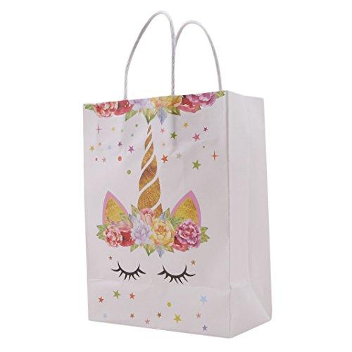 (Sperrins 10 Teile/satz Einhorn Thema Papiertüte Dekoration Einkaufstasche Geschenktüte Süßigkeitstasche Kinder Geburtstag Party Supplies (Gelb))