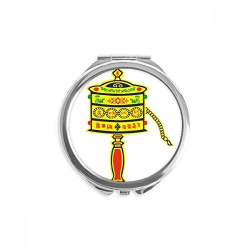 DIYthinker Buddhismus Religion Gebet-Rad Sanskrit Spiegel Runder bewegliche Handtasche Make-up 2.6 Zoll x 2.4 Zoll x 0.3 Zoll Mehrfarbig