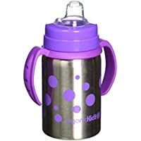 organicKidz Baby Grows Up Stainless Steel Bottle Set, Lavender Dots, 9 Ounce