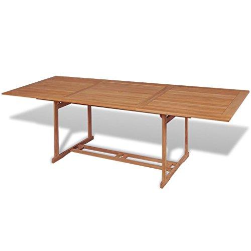 vidaXL Teck Table à Manger Rectangulaire d'Extérieur Jardin 240x90x75 cm