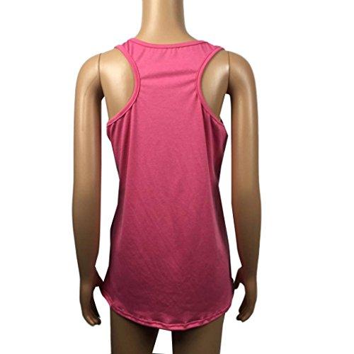 WOCACHI Damen Sommer Ärmellos Tops Frauen Brief gedruckt Ärmel O-Ansatz Behälter Casual Tops Mode Vest Blusen T-Shirt Rosa