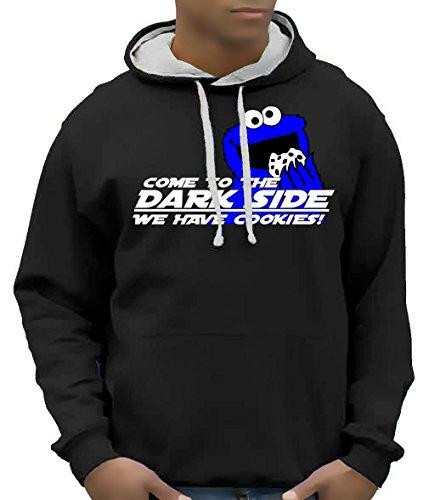COOKIE MONSTER - come to the dark side - BICO Hoodie Sweatshirt mit Kapuze Schwarz (Cookie Monster Hoodie)