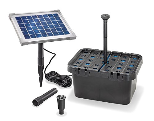 Solar Teichfilterset Starter 470 l/h Förderleistung 5 W Solarmodul Komplettset bis 1000l Gartenteich 101065 -