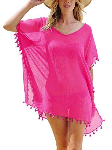 Damen Strandkleid Bikini Cover Up Quasten Strandponcho Sommer Bademode Rose Rot