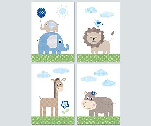 Kinderzimmer Babyzimmer Deko Mädchen Junge - Poster Set 4x DIN A4 - Bilder Kinder Baby (Set03)