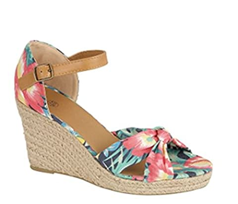 Martildo Fashion, Ladies Wedge Heels Holiday Evening Sandals, Floral, UK 5