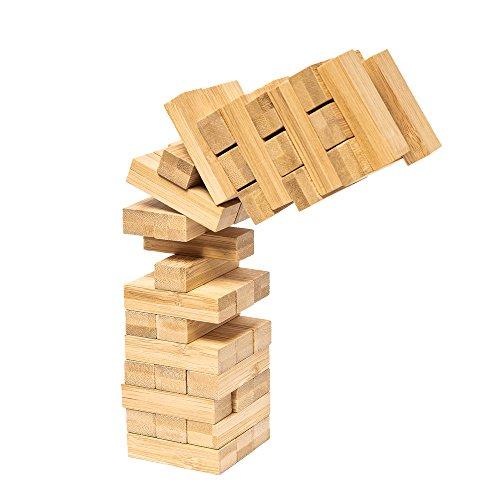 pandoo Wackelturm aus Bambus | Geschicklichkeitspiel, Familienspiel, Gesellschaftsspiel - Gerillte Holz