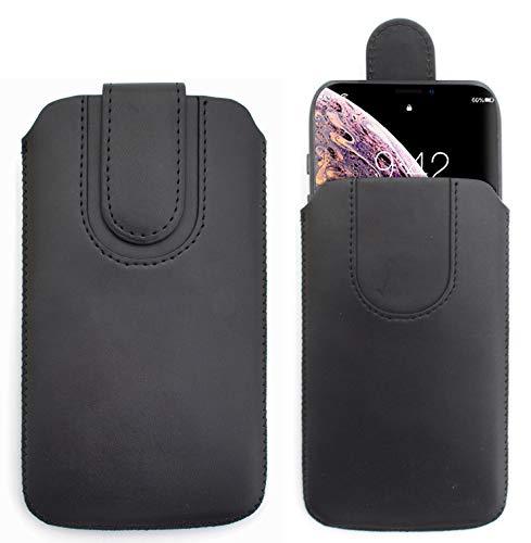 Sweet Tech Schutz-Tasche [SCHWARZ] für Allview P6 Energy Mini/Allview P7 Lite/Allview X4 Soul Mini S - Pu Leder Schutzhülle herausziehbar genaeht mit Rausziehband und magnetischen Schneller