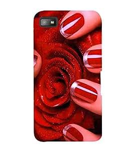 Fabcase lovely red rose petals covered in sprinkles glossy nails Designer Back Case Cover for BlackBerry Z10