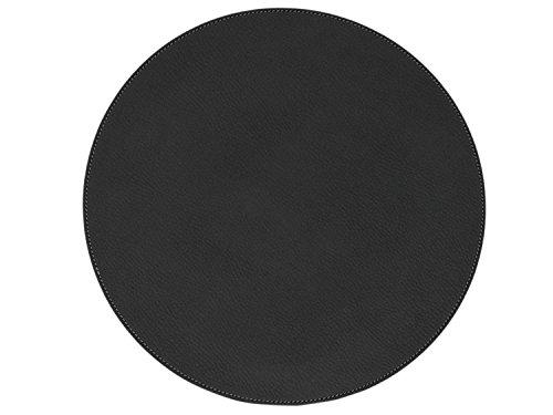 Nikalaz Set de Table Rond (1 pièce), 33 cm, recyclé, cuir Naturel, Table ronde Décor (NOIR)