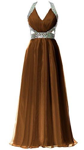 MACloth Women Halter V Neck Long Homecoming Dress Wedding Party Formal Ball Gown Braun