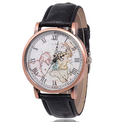 Dilwe Frauen Armbanduhr, Elegante Uhr mit PU Lederband und Weltkarte Muster wählen für Mädchen Geschenk(Schwarz)
