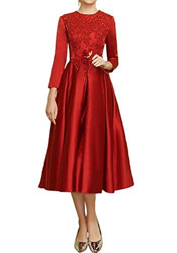 Gorgeous Bride Elegant Brautmutterkleider Lang Ärmel Satin Spitze Wadenlang Abendkleider Kurz Cocktailkleider Ballkleider Rot