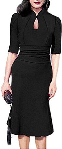 SunIfSnow -  Abito  - fasciante - A pois - Con bottoni  - Maniche corte  - Donna Black Large
