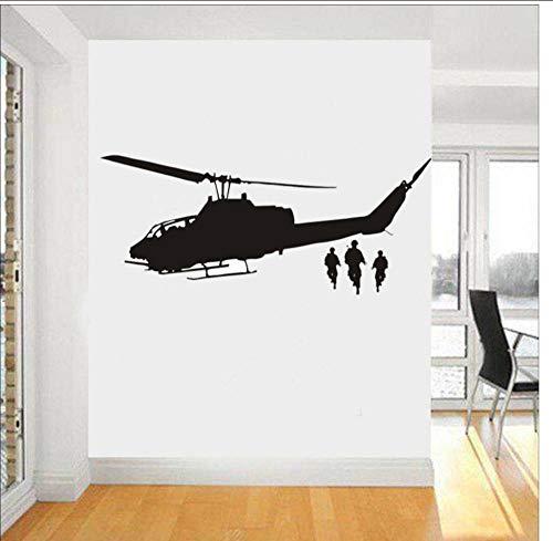 Transport Silhouette Wohnkultur DIY Hubschrauber Wandaufkleber Für Jungen Zimmer Armee Mann Vinyl Aufkleber Room Decor Kunstwand 80x40 cm